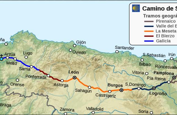 Camino Francés desde Roncesvalles a Santiago (5 tramos)